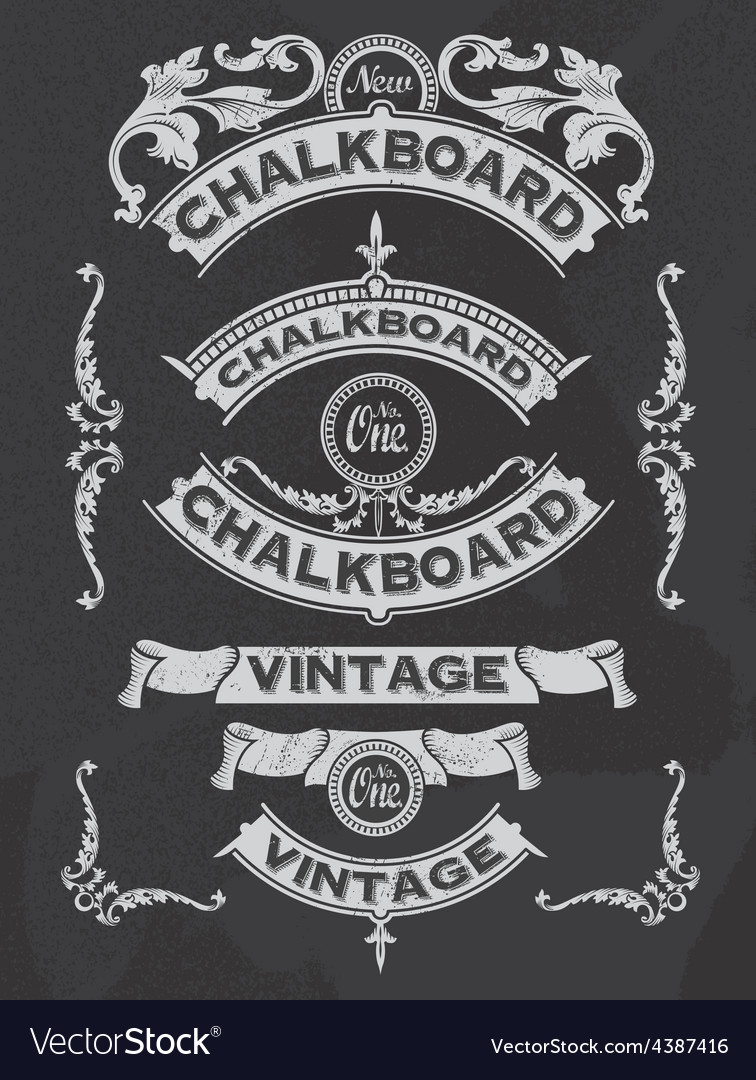 Retro Banner and ribbon blackboard design set