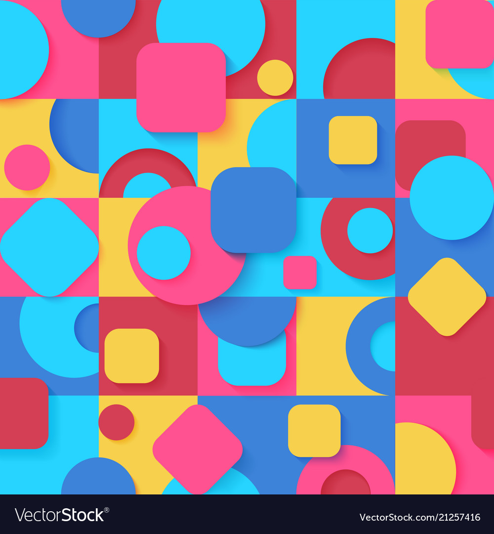 Seamless pop art colorful abstract geometric