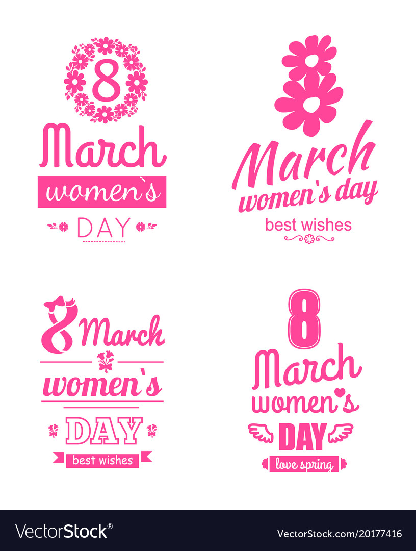 Set 8 March Greeting Cards International Women Day