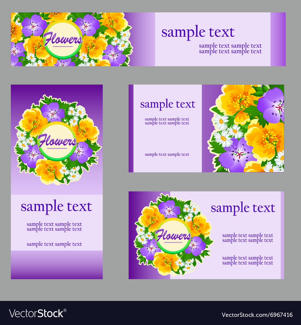 Set of cards with a picture of wild flowers