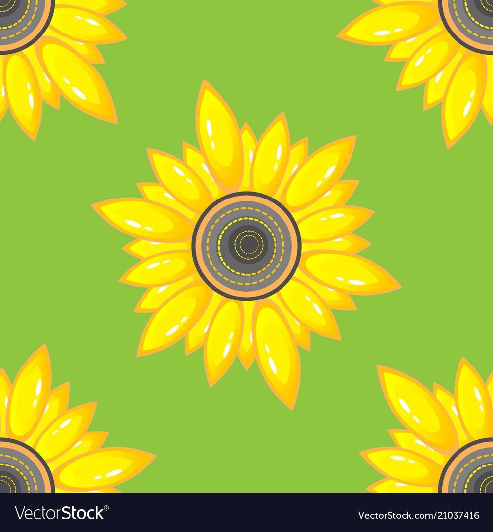 Summer seamless pattern with sunflower