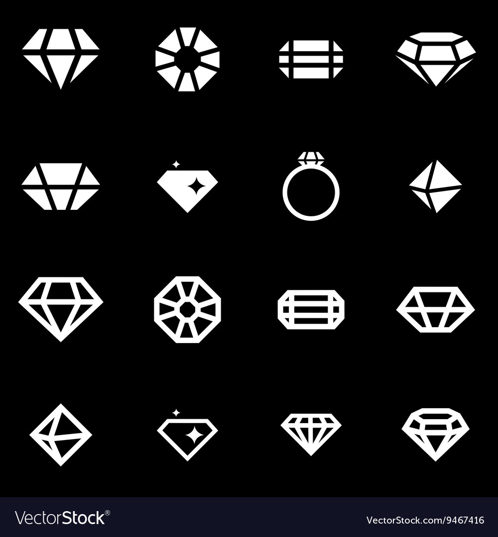 White diamond icon set vector image