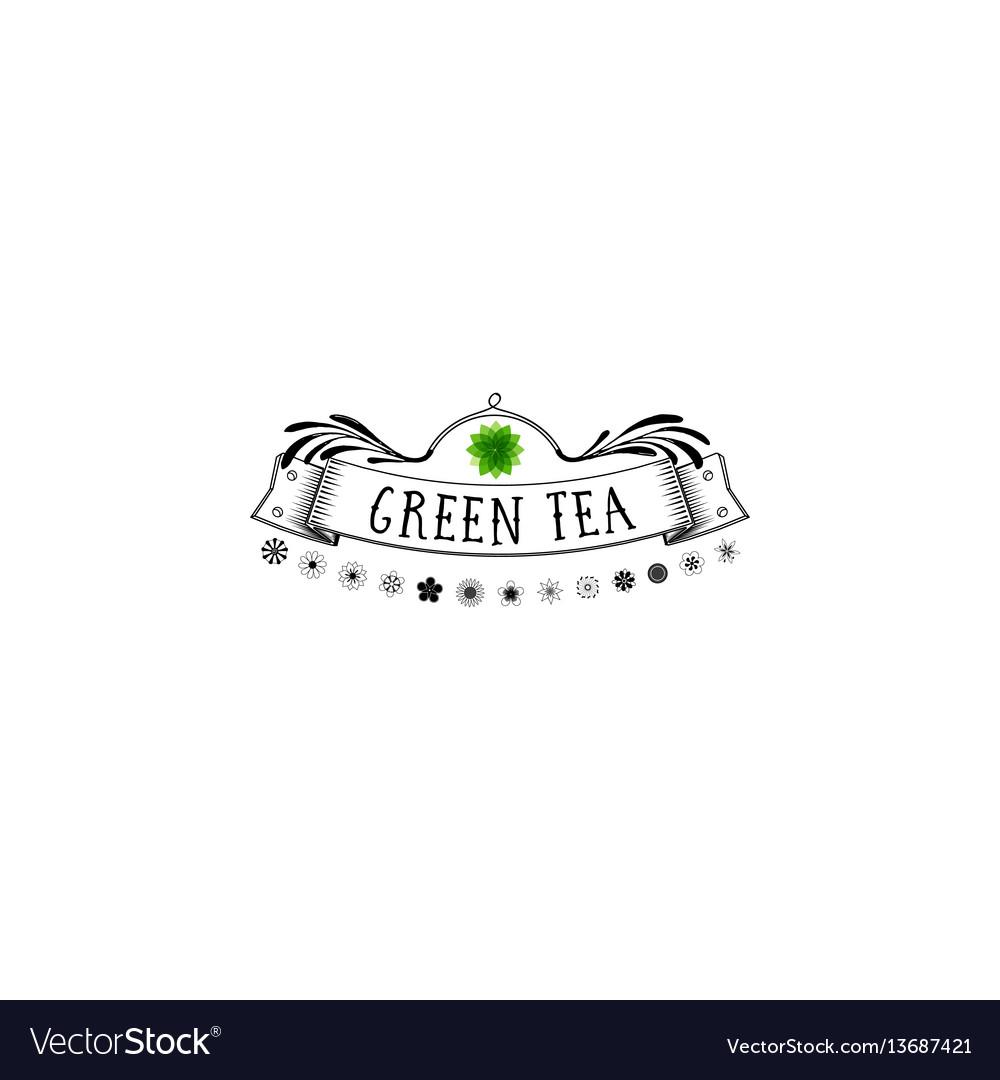 Badge as part of the design - green tea sticker