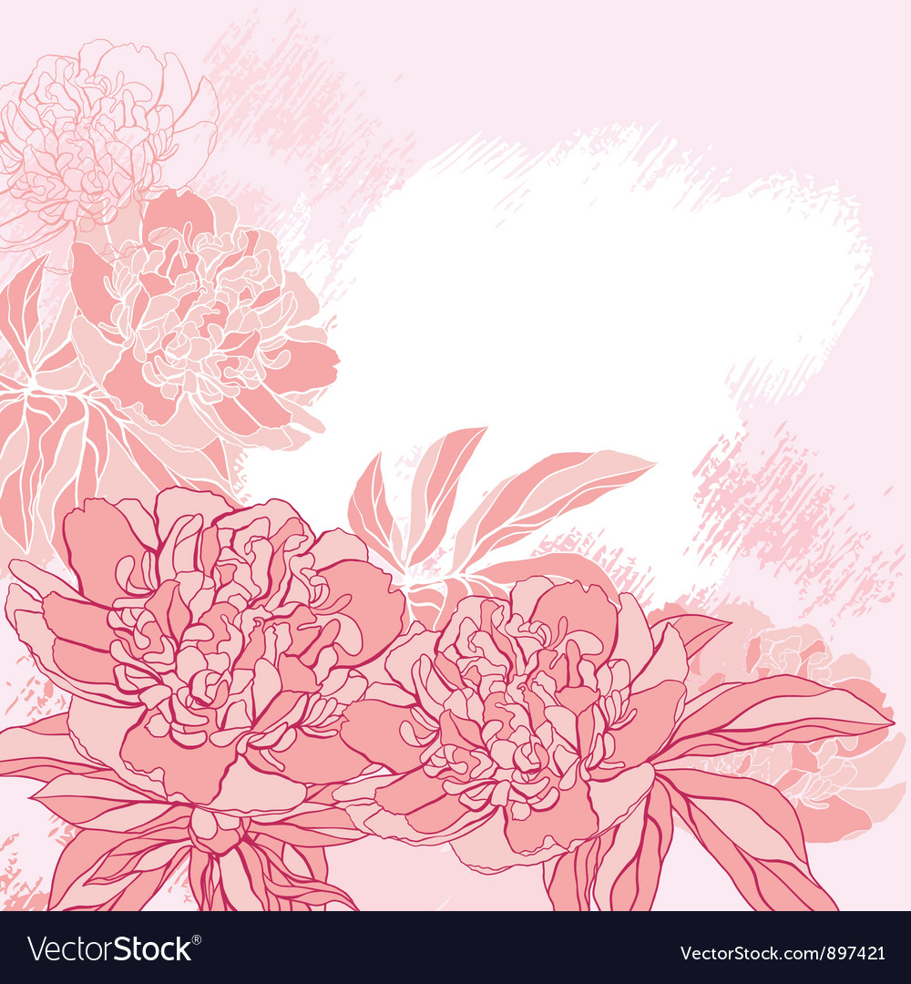 Card with peony on grunge background