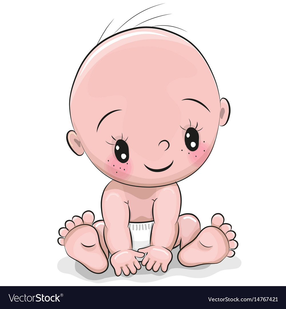 Cute cartoon baby boy Royalty Free Vector Image