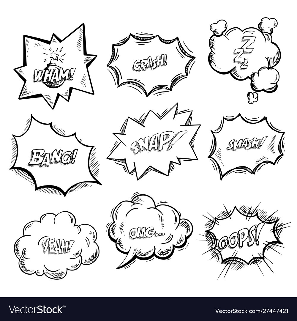 Exclamation clouds sketch and onomatopoeia comic