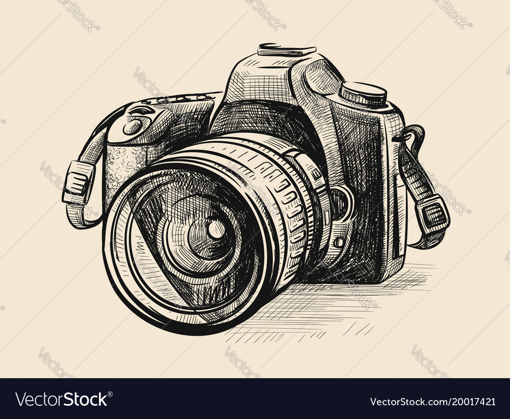 Modern camera in doodle style