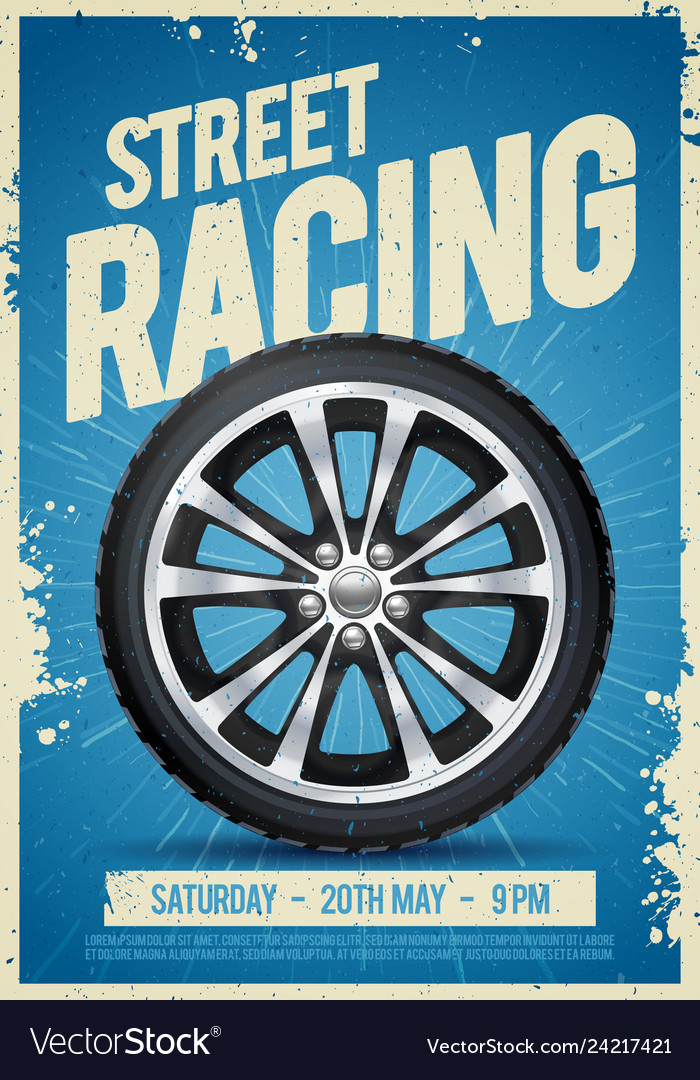 Speed street racing poster with cool car wheel