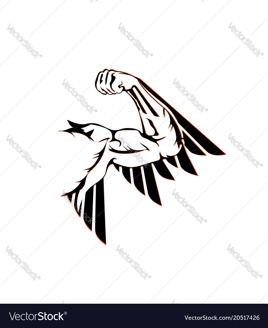 Arm muscle wing - flat icon vector image