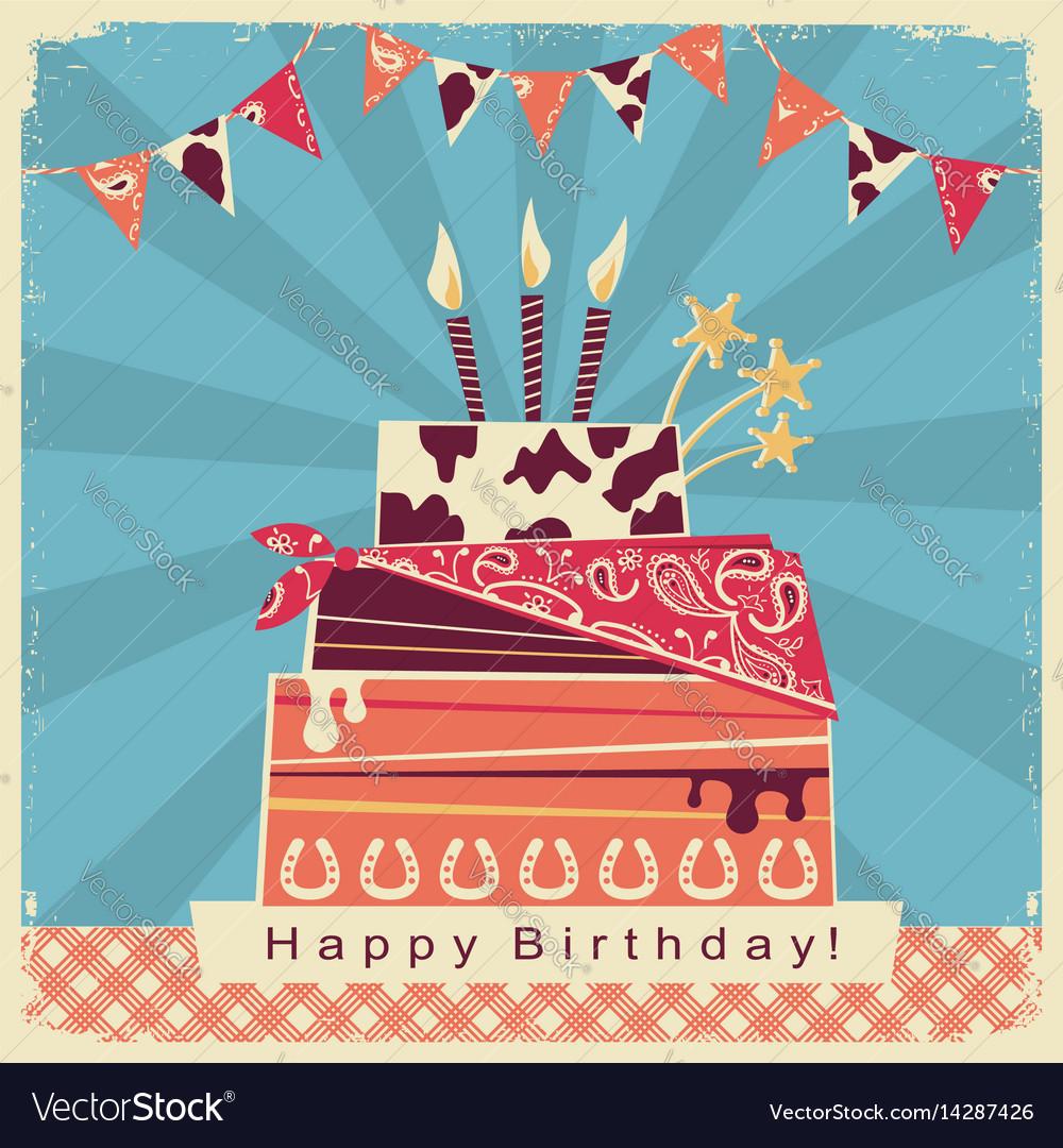 Cowboy party card with happy birthday big cake
