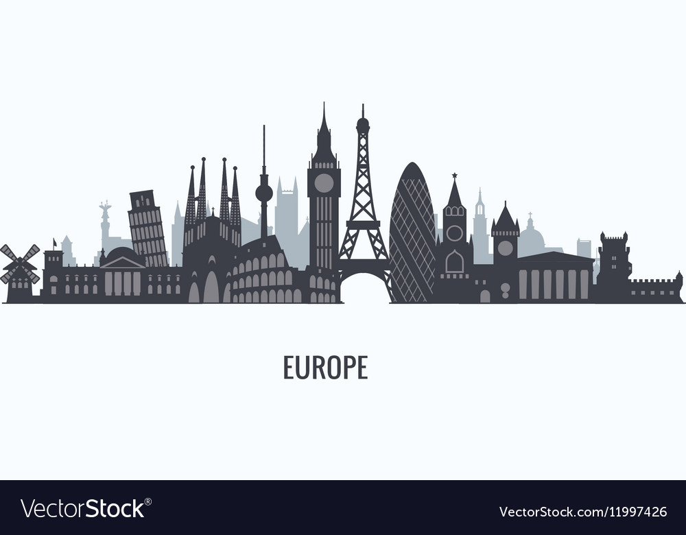 Europe skyline silhouette vector image