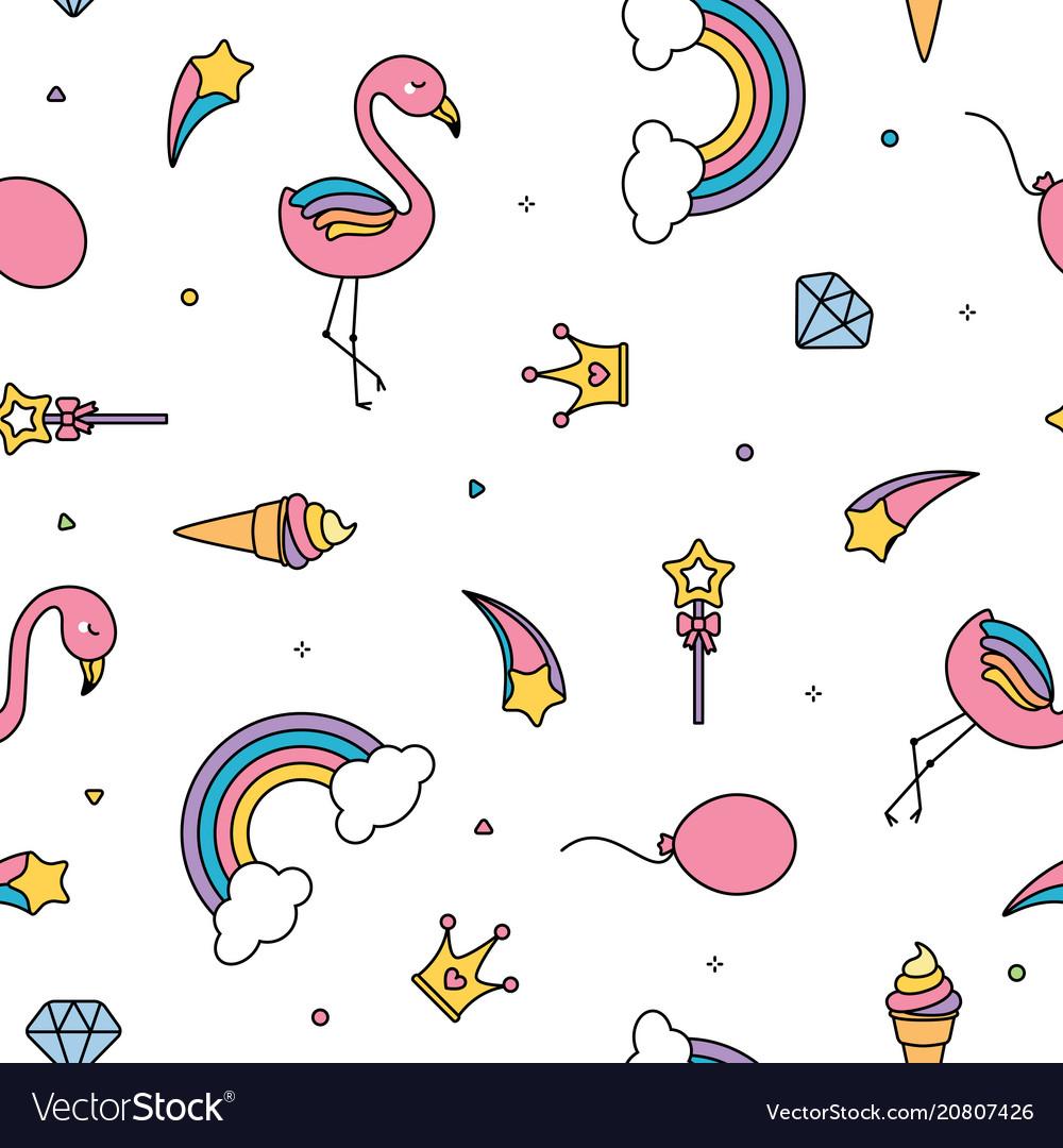 Flamingo rainbows and stars seamless pattern