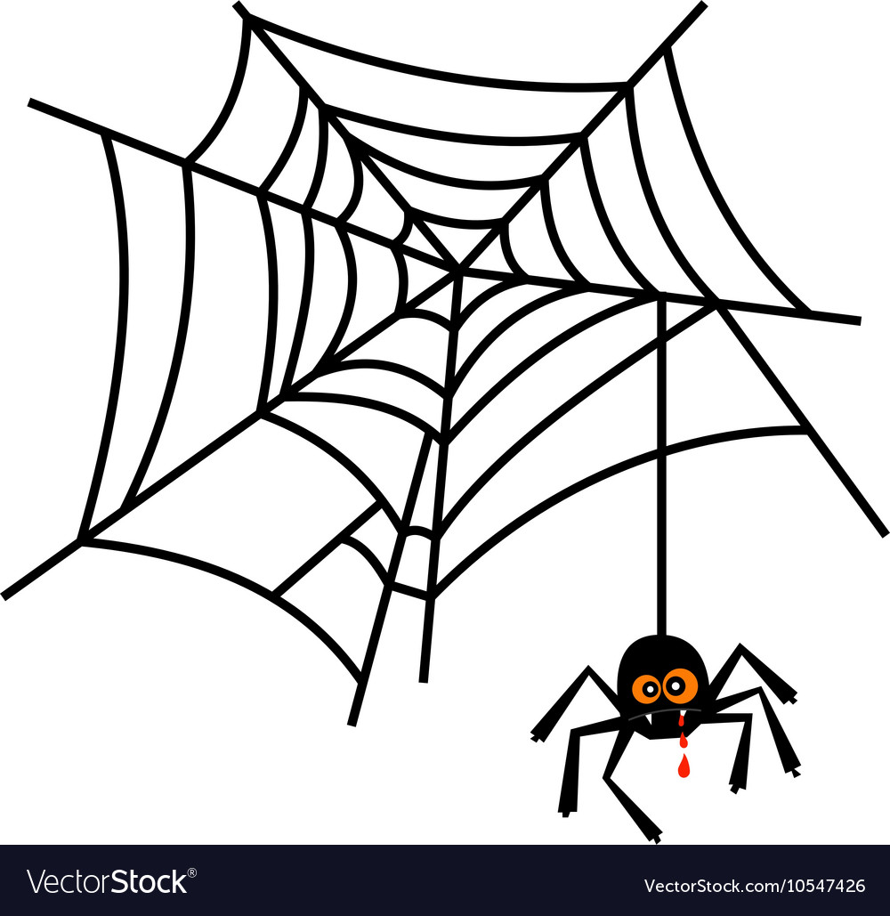 Halloween cute spider on web Royalty Free Vector Image