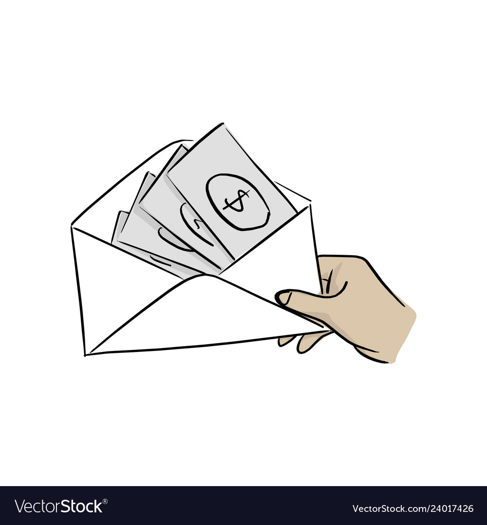 Hand of businessman holding money in envelope