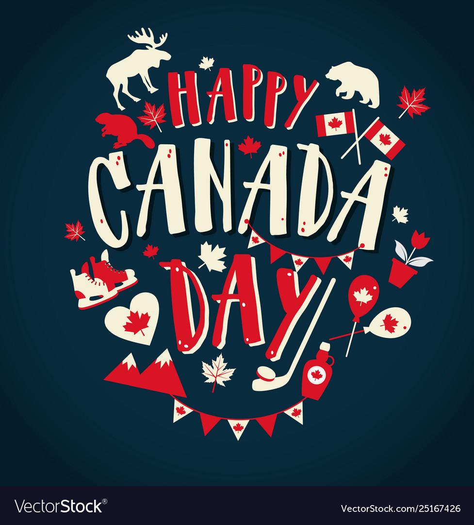 Happy canada day with flat symbols