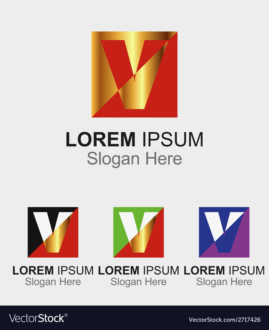 Letter V logo design sample icon vector image
