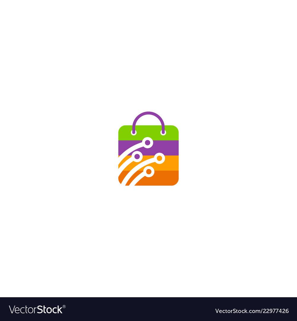 Online shop bag technology logo