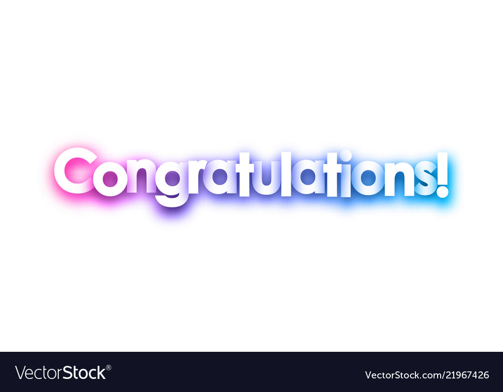 Purple congratulations sign on white background