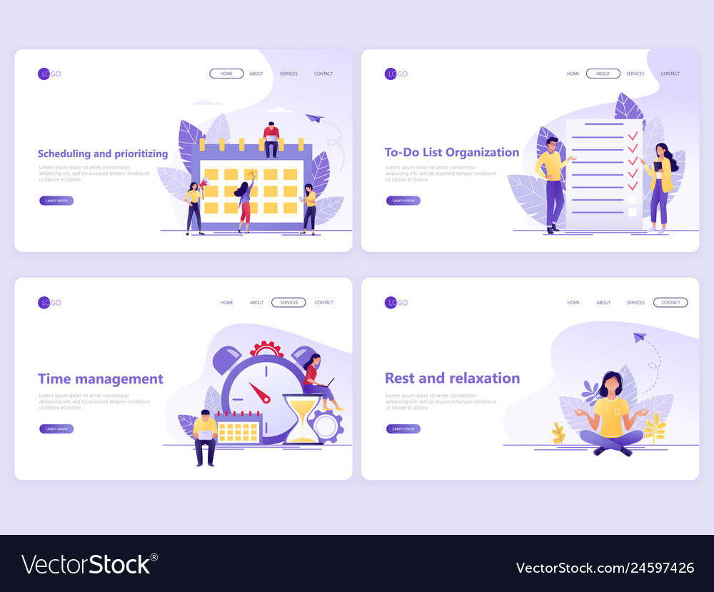 Set of landing page templates business planning