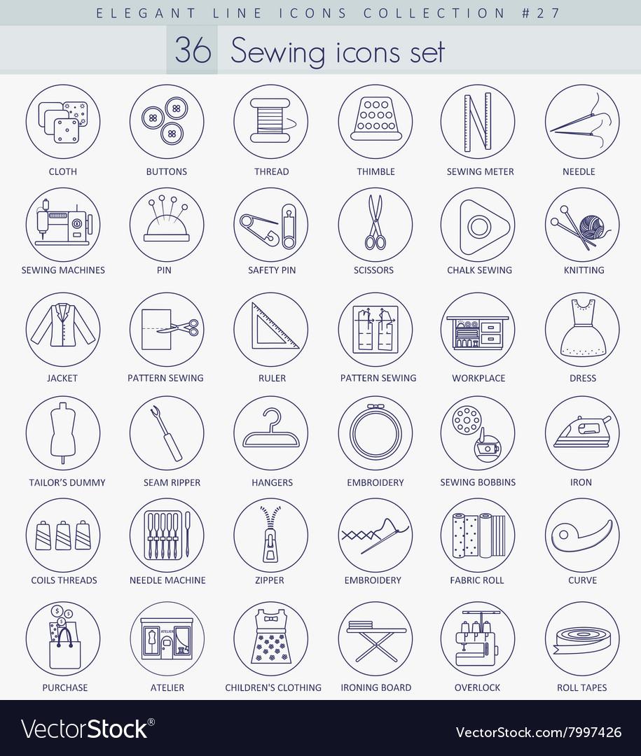 Sewing outline icon set Elegant thin line