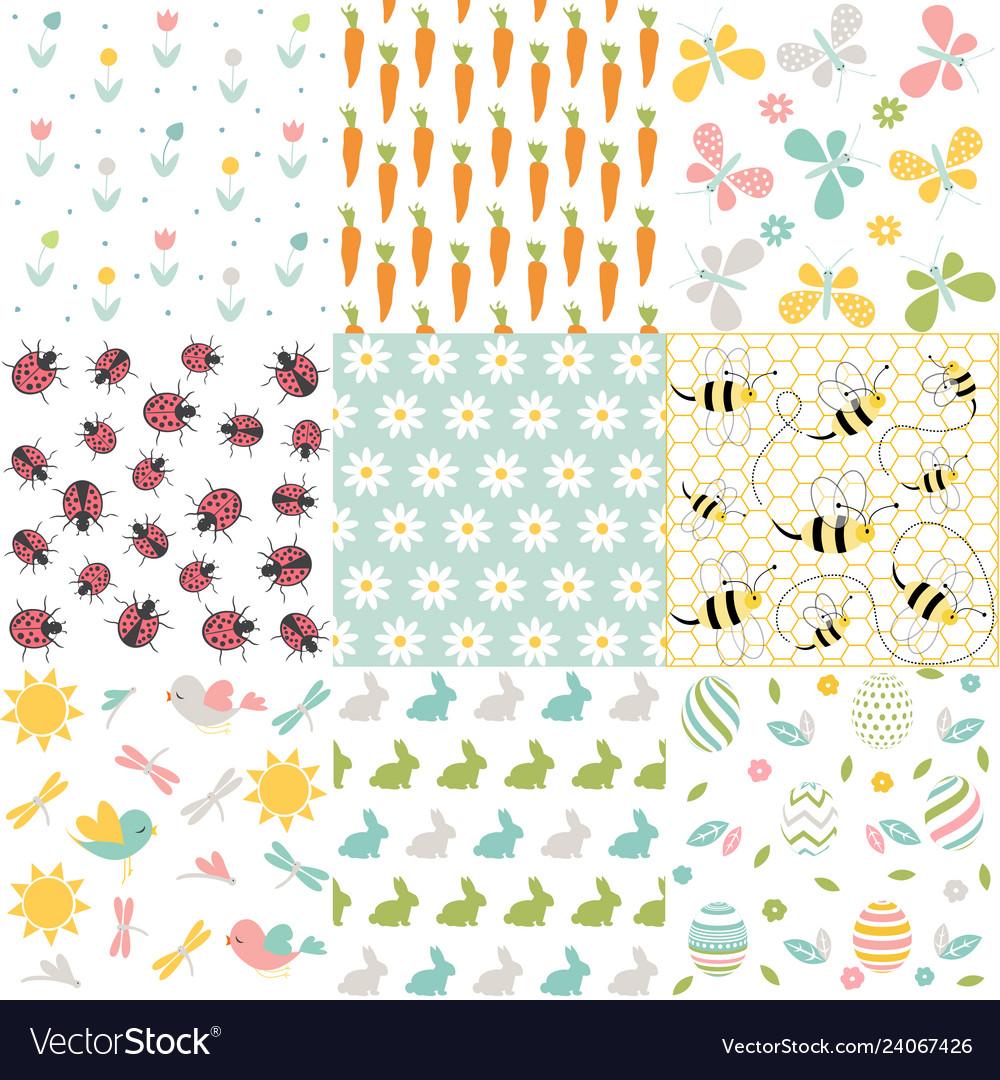 Spring easter patterns seamless backgroun