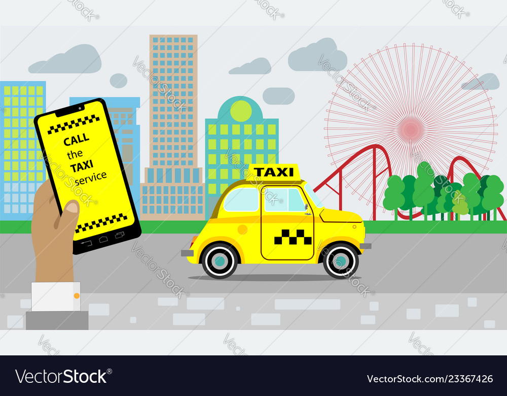 Taxi service yellow taxi cab hands with