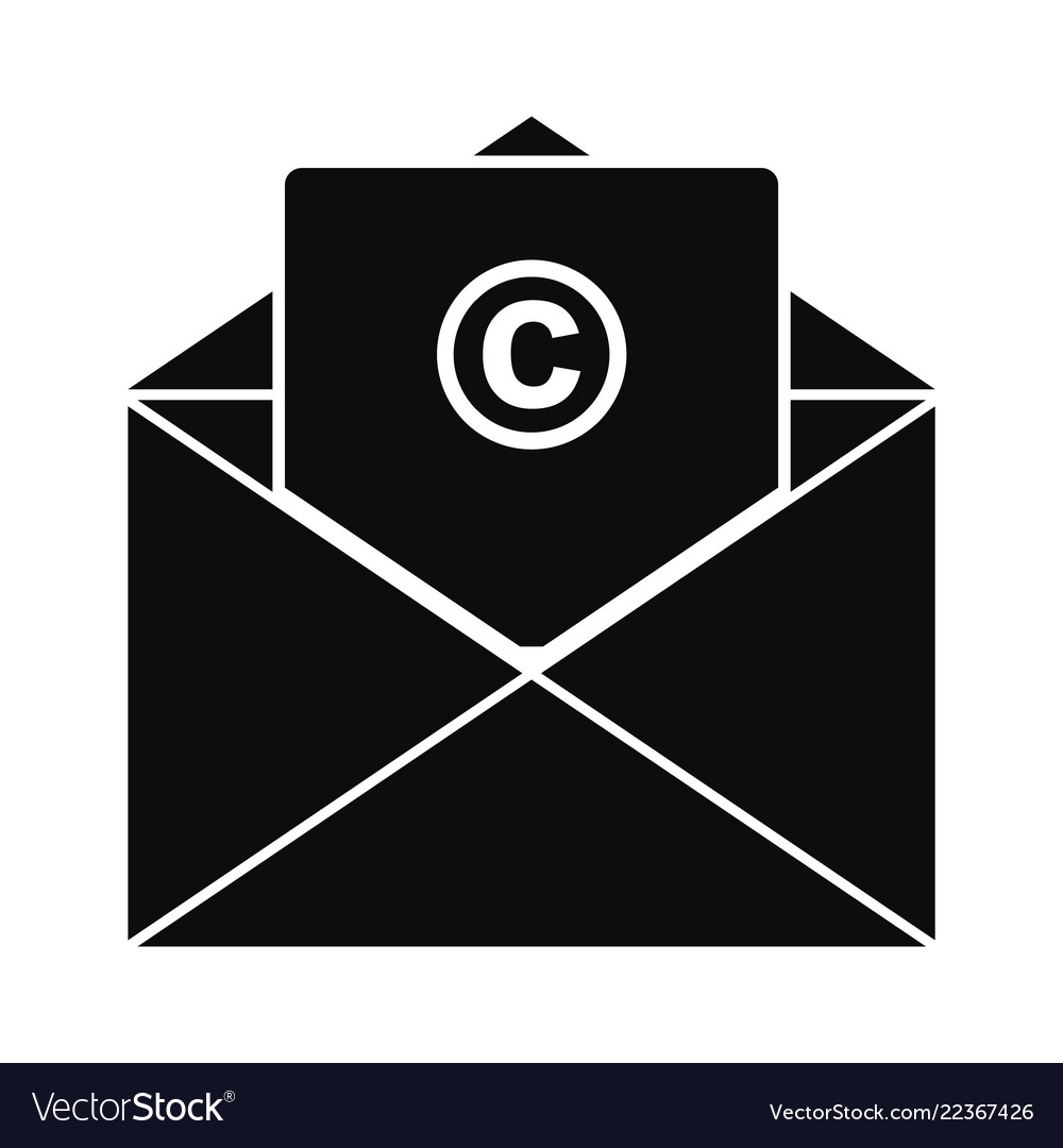 Trademark envelope icon simple style