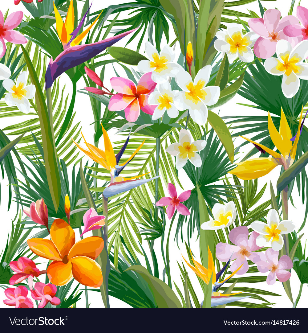 Tropical palm leaves flowers seamless background vector image