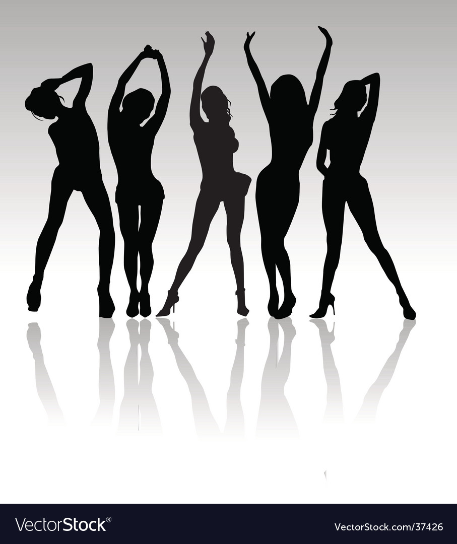 Women party silhouettes vector image