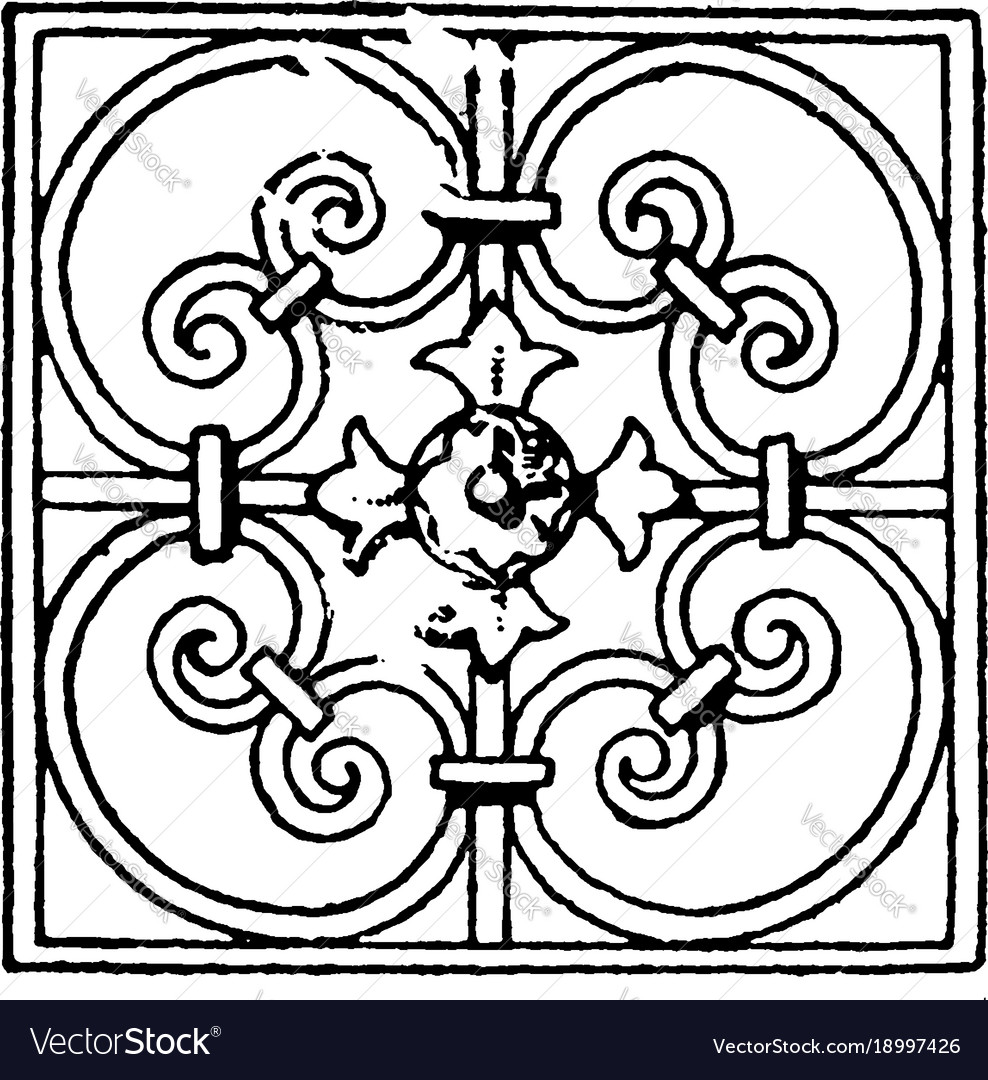 Wrought-iron square panel is a french 17th