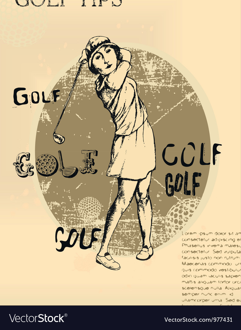 Abstract background golfing woman old newspaper