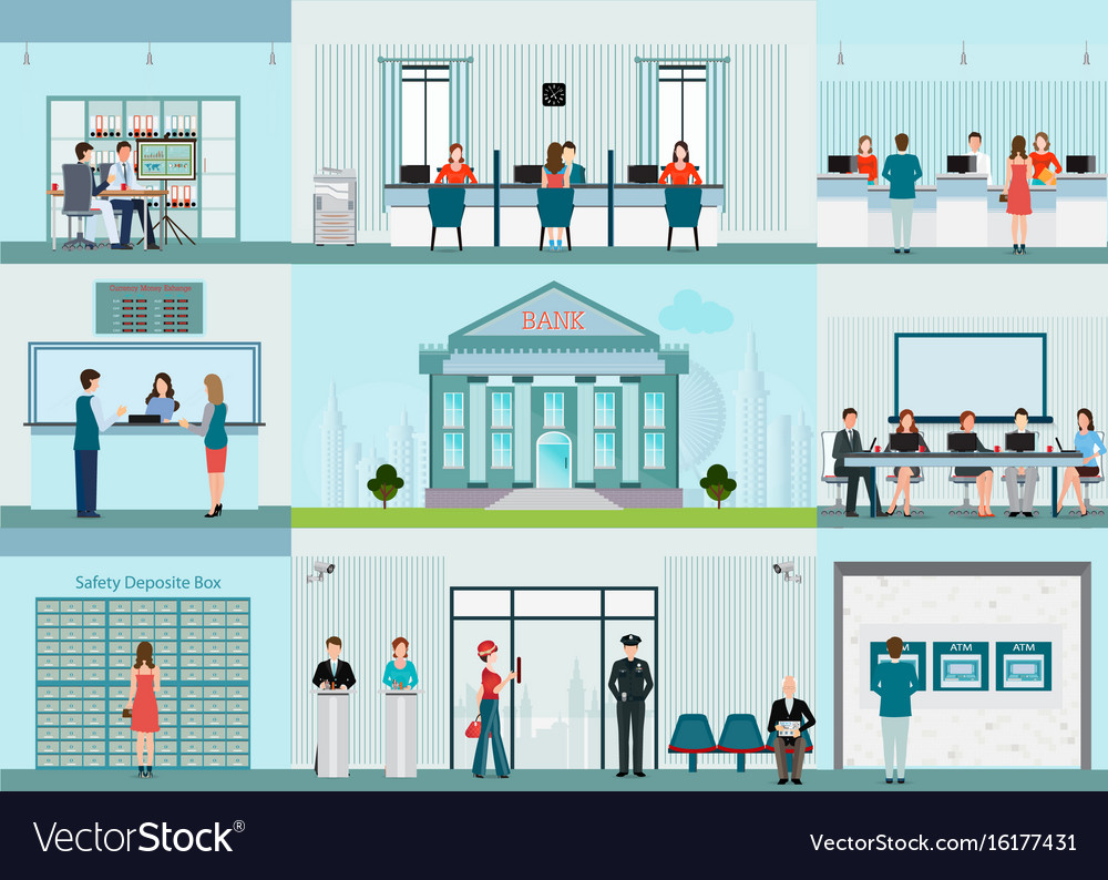 Bank building and finance infographic with office vector image