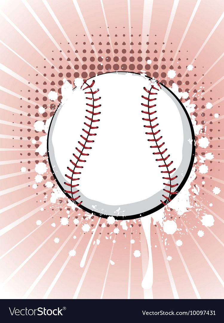 Baseball Ball on Background with Rays5 vector image