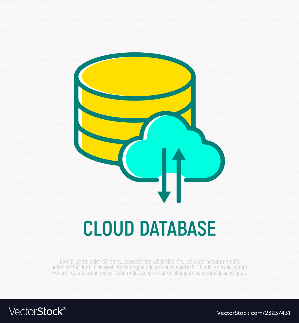 Cloud database thin line icon