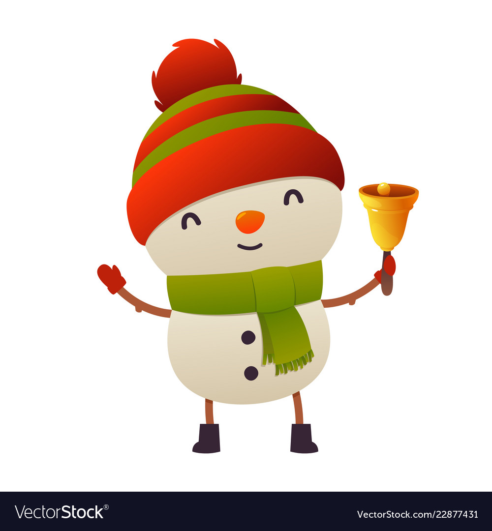 Cute cartoon christmas snowman holds bell happy