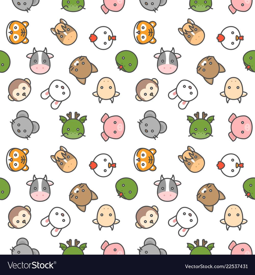 Cute chinese zodiac seamless pattern in filled