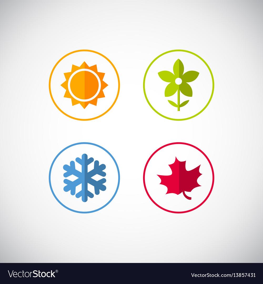 Four season icons vector image