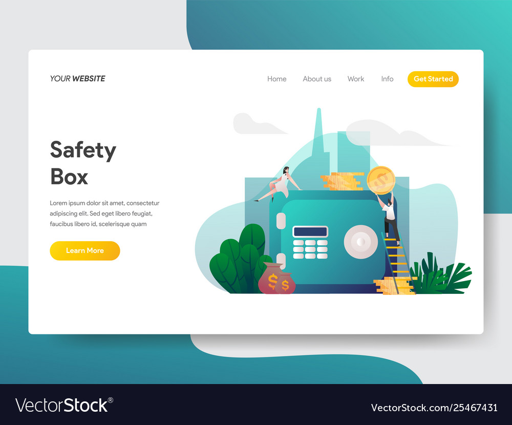 Landing page template safety box concept