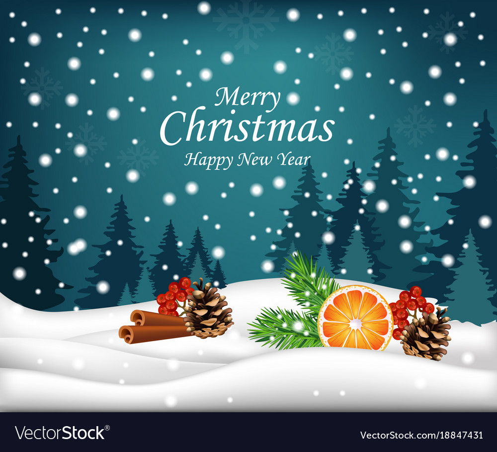 Christmas Card Background.Merry Christmas Card Winter Snowy Background With