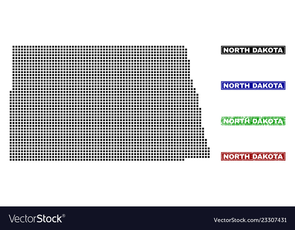 North dakota state map in dot style with grunge Vector Image