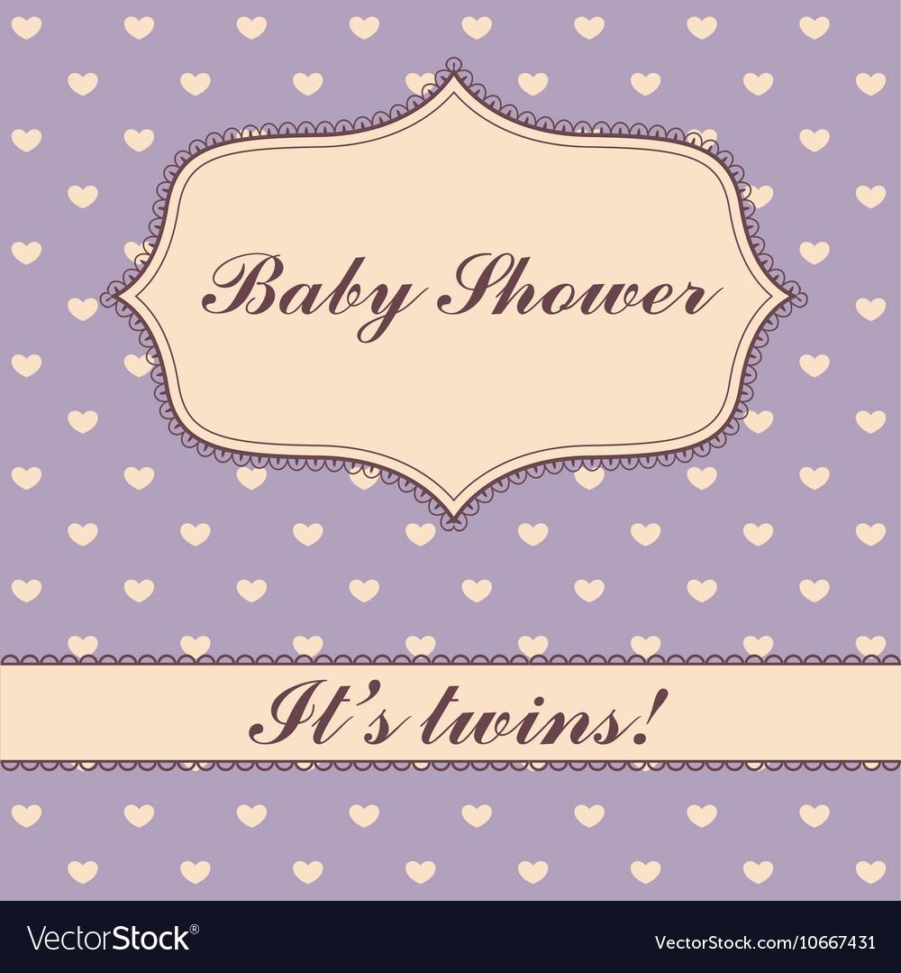Polka Dot Hearts Baby Shower Twins Royalty Free Vector Image