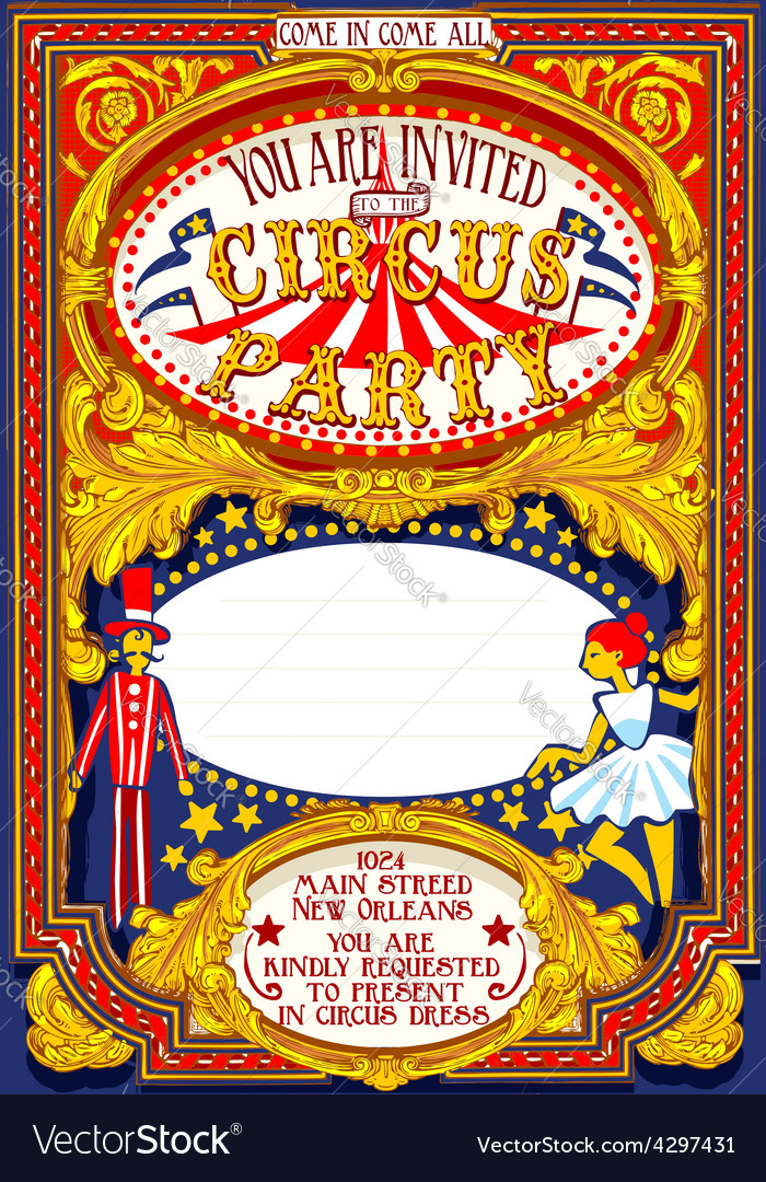 Poster Invite for Circus Party Carnival vector image