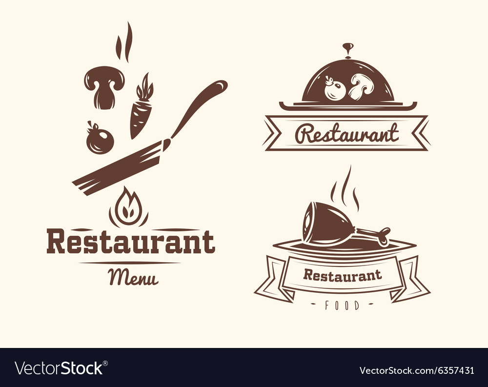 Set of badges and labels elements for restaurant vector image