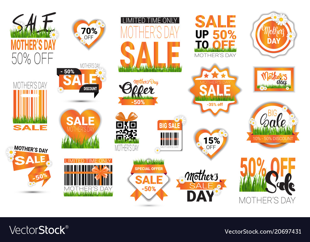 Set of mothers day sale signs isolated shopping