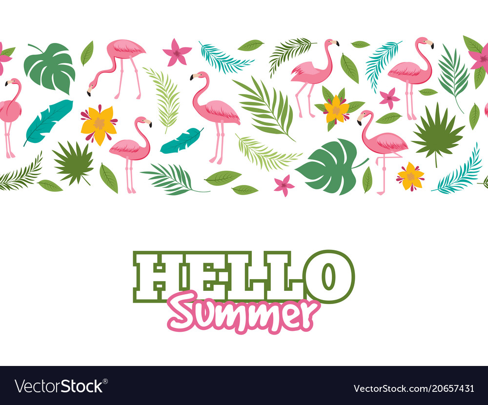 Tropical leaves and flamingo pattern hello summer vector image
