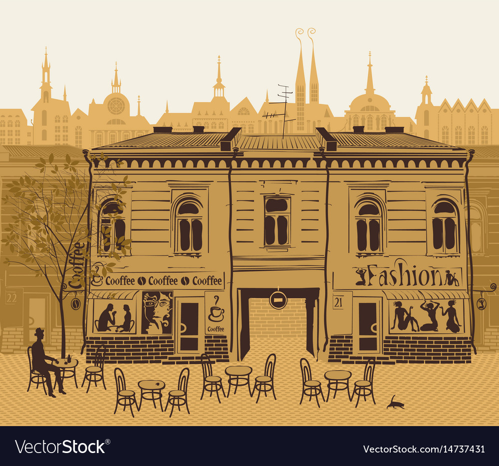 Urban landscape with street cafe in old town vector image