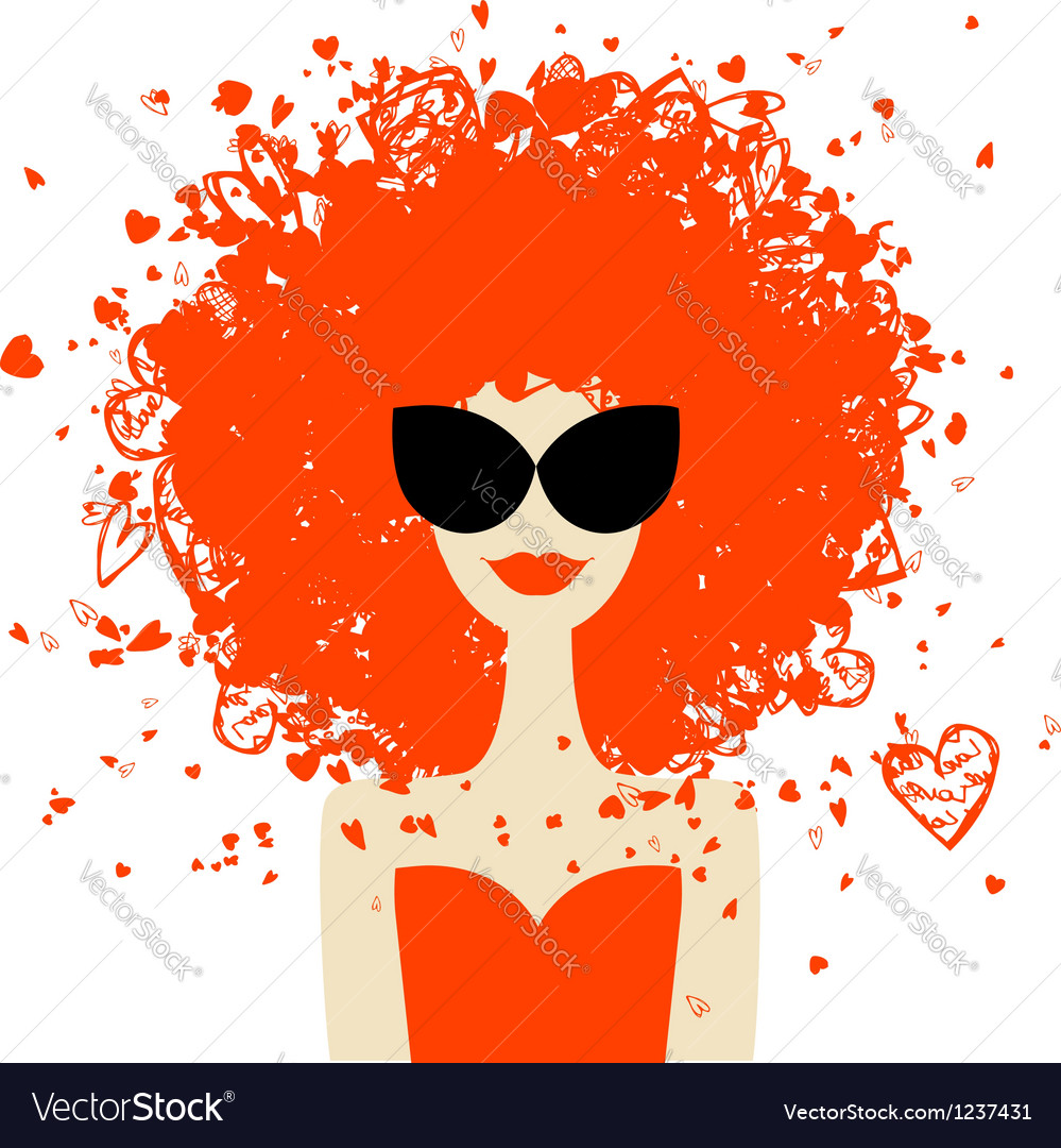 Woman portrait with orange hairstyle summer style
