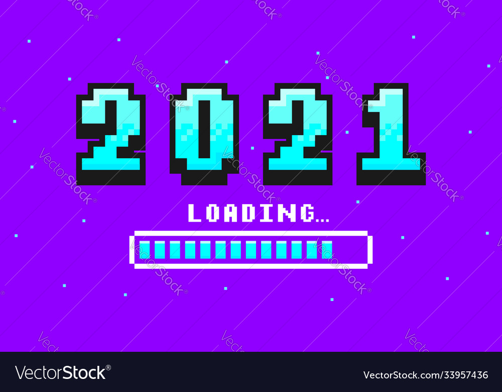 2021 pixel art banner for new year