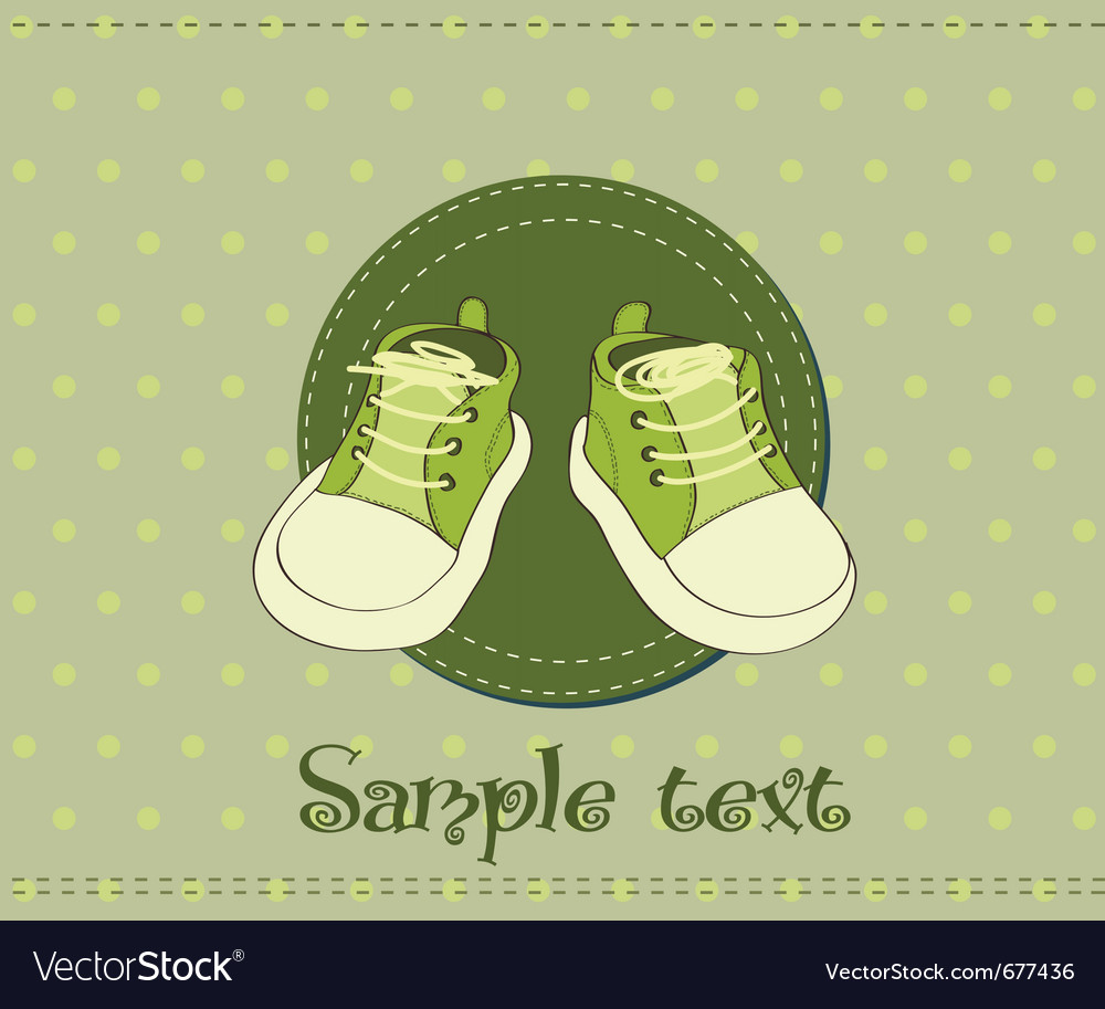 Baby Shoes Arrival Card Royalty Free Vector Image