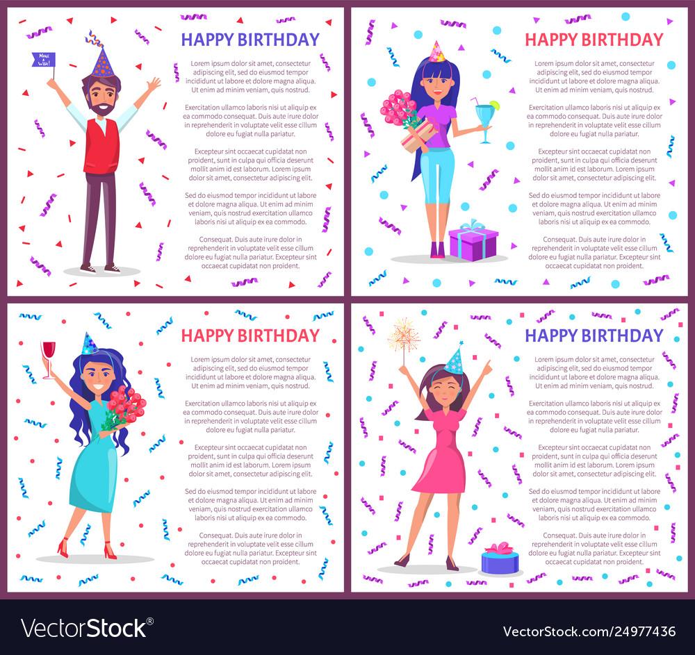 Birthday Greeting Posters Women Celebrating Bday Vector Image
